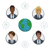 Team of remote workers on a business project Stock Photo