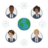 Team of remote workers on a business project Royalty Free Stock Photography