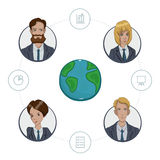 Team of remote workers on a business project Stock Images