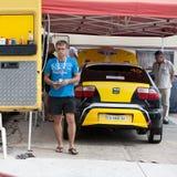 Team riders prepares car to Prime Yalta Rally. YALTA, UKRAINE - SEPTEMBER 13, 2012: team riders KOPYLETS Pavlo and BORSHCHENKO Yevheniy from Ukraine prepares Royalty Free Stock Photography