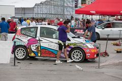 Team riders prepares car to Prime Yalta Rally Stock Photo