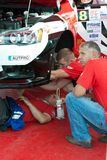 Team riders prepares car to Prime Yalta Rally Stock Photography