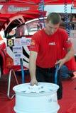 Team riders prepares car to Prime Yalta Rally Stock Photos