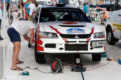 Team riders prepares car to Prime Yalta Rally Royalty Free Stock Photos