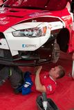 Team riders prepares car to Prime Yalta Rally Stock Image