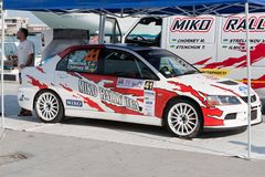Team riders prepares car to Prime Yalta Rally Royalty Free Stock Photography