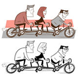 Team riding a bicycle. Office workers riding a triple bicycle Royalty Free Stock Photo