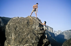 Team of rock climbers. Royalty Free Stock Photography