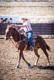 Team Roping Competition. Wickenburg, USA - February 5, 2013: Riders compete in a team roping competition in Wickenburg, Arizona, USA Royalty Free Stock Images