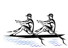 Team rowing. Two silhouette isolated oh a white background Royalty Free Stock Photo
