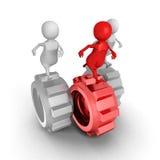 Team Run On Gears With för affärsfolk röd ledare Arkivbilder