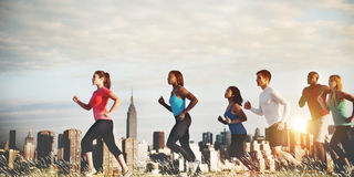 Team Running Marathon Healthy Runner Concept Stock Photo