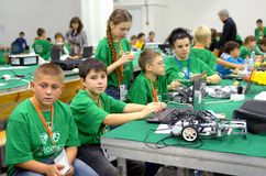 Team Russia at the robot Olympiad in Sochi Royalty Free Stock Photos