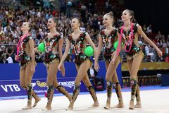 Team Russian Federation Rhythmic Gymnastics fotos de stock