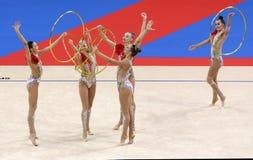 Team Russian Federation Rhythmic Gymnastics stock photography
