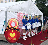 The team of Russian women drummers Royalty Free Stock Photography