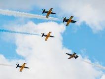 Team Russlands Rus aerobatic Kämpfer Albatros L-39 an MAKS Airshow 2015 Stockbild