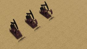 Team of rust pump jacks. Three rusty oil drilling rigs for petroleum working on the sand, with copy space, top view vector illustration