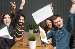 Team`s Reaction to Success stock image