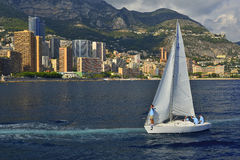 A team of sailors. Sailing in the harbor of Monaco Stock Images