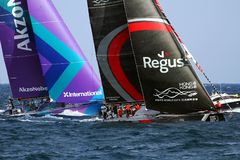 Team Scallywag and Akzonobel in race after leave the port of Alicante. Team Scallywag and Akzonobel moments after start Leg 1 Alicante-Lisbon of the Volvo Ocean Stock Photos