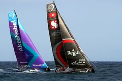 Team Scallywag and Akzonobel in race after leave the port of Alicante. Team Scallywag and Akzonobel moments after start Leg 1 Alicante-Lisbon of the Volvo Ocean Stock Images