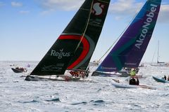 Team Scallywag and Team Akzonobel. Team Scallywag and Akzonobel fighting in the previous moments at the start of the Volvo Ocean Race 2017, on October 22, 2017 Stock Images