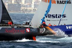 Team Scallywag and Vestas in race after leave the port of Alicante. Team Scallywag and Vestas moments after start Leg 1 Alicante-Lisbon of the Volvo Ocean Race Stock Images