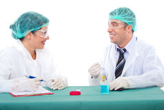 Team of scientists having conversation Stock Photos