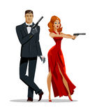 Team of secret agents. Posing on camera. Sexual woman in red dress. Illustration Royalty Free Stock Photos