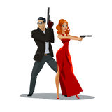 Team of secret agents. Posing on camera. Sexual woman in red dress. Illustration Stock Photography