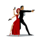 Team of secret agents. Posing on camera. Sexual woman in red dress. Illustration Royalty Free Stock Image