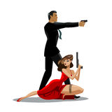 Team of secret agents. Posing on camera. Sexual woman in red dress. Illustration Royalty Free Stock Photo