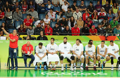 Team Serbia in action during group A basketball match of the Rio 2016 Olympic Games against team France Stock Photography