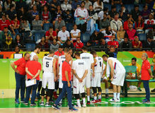 Team Serbia in action during group A basketball match of the Rio 2016 Olympic Games against team France Royalty Free Stock Photography