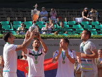 Team Serbia winners of the 2012 Power Horse World. 2012 World Team Cup. This photo shows the Serb team receiving the World Team Cup .Team member Janko Tipsarevic Royalty Free Stock Photography