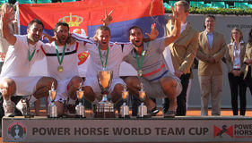 Team Serbia winners of the 2012 Power Horse World. 2012 World Team Cup. This photo shows the Serb team receiving the World Team Cup .Team member Janko Tipsarevic Royalty Free Stock Photo