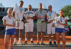 Team Serbia winners of the 2012 Power Horse World. 2012 World Team Cup.Winners Serbia. From left to right Nenad Simonjic ,Janko Tipsarevic, Miki Jankovic and Stock Photo