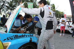 Team service on race in thailand super series Stock Photos