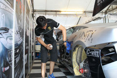 Team service on race in thailand super series Royalty Free Stock Photos