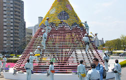 A team  setting up for Hiroshima flower festival Stock Photos