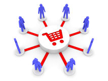 Team shopping. Common source of goods. Royalty Free Stock Images