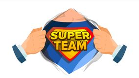 Team Sign Vector superbe Chemise ouverte de super héros avec l'insigne de bouclier Illustration comique d'isolement de bande dess illustration de vecteur