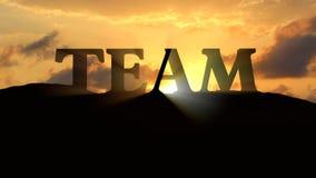 Team Silhouette. On Sunset Landscape Stock Photo