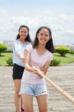 In team with sister Royalty Free Stock Images