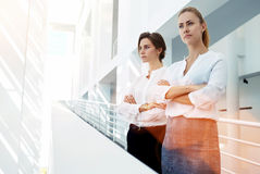 Team of skilled women partners of the company dissatisfied with the result of important meeting Royalty Free Stock Images