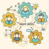 Team Skills Banner Avatar i kugghjul Arkivbild