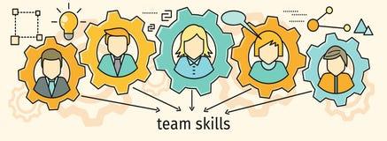 Team Skills Banner Avatar i kugghjul Royaltyfri Bild