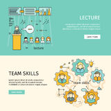 Team Skills and Business Lecture Banners. Team skills and business lecture banner. Business education, team building, workshop, training skill, develop ability Royalty Free Stock Images
