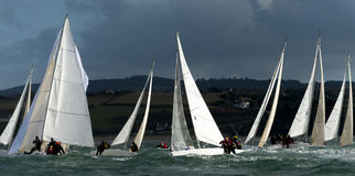 Team skipper on yacht at regatta Stock Image